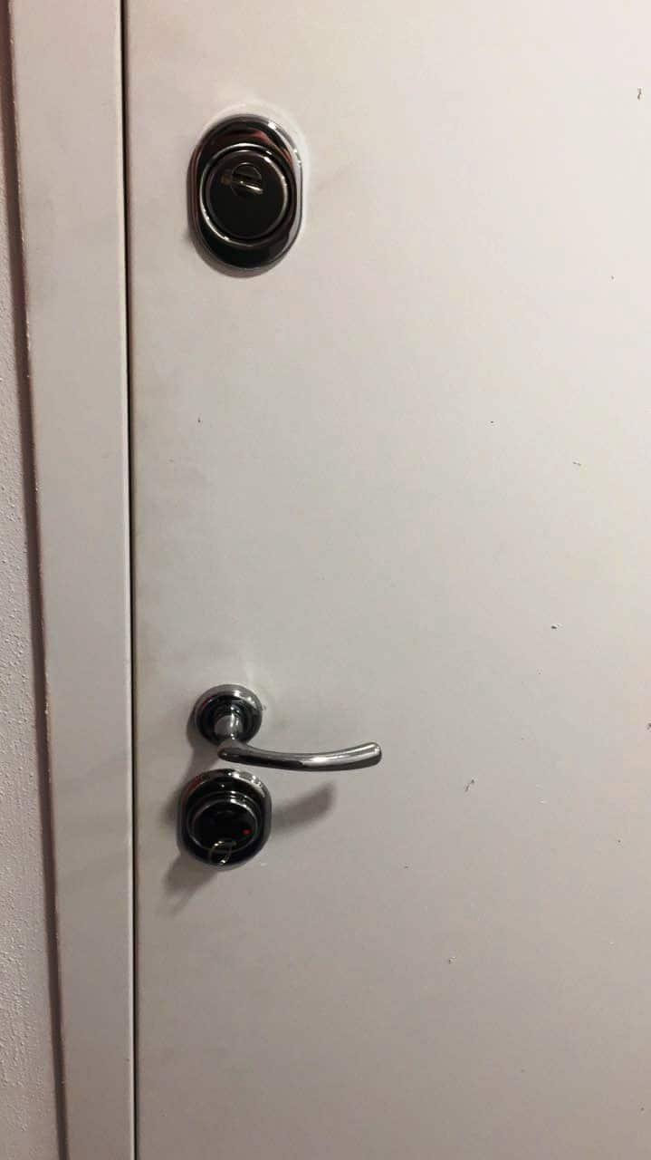 Входная металлическая дверь, замок и личинка Cisa (Чиза) - сверху, замок и личинка Cisa (Чиза) - снизу, врезная броня Disec (Дисек), дверные ручки Hoppe (Хоппе)